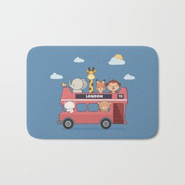 Kawaii Cute Zoo Animals On A London Bus Bath Mat