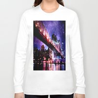 new york Long Sleeve T-shirts featuring New York New York by Whimsy Romance & Fun