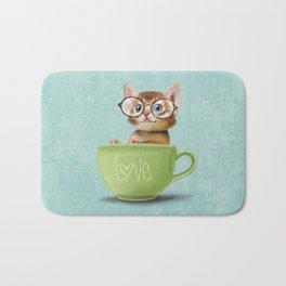 Kitten with glasses Bath Mat