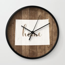 Colorado is Home - White on Wood Wall Clock