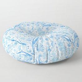 Mermaid Toile - Blue Floor Pillow