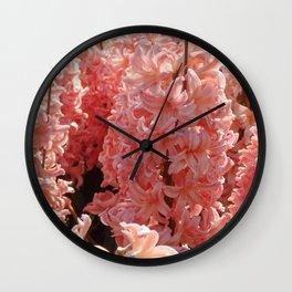 Salmon Pink Hyacinth Flower Wall Clock