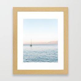 Boat After Sunset Crete, Greece   Travel Photography Print Light Colors  Framed Art Print