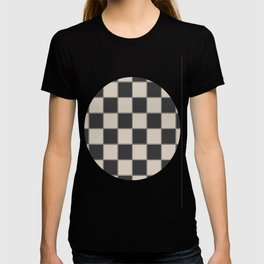 Traditional Checkerboard, Ecru-Beige and Chocolate-Deep Brown T-shirt
