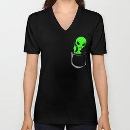 Alien in a pocket smoking weed / blunt Unisex V-Neck