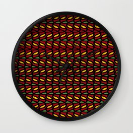 Abstract Leaves - Gold and Burgundy Wall Clock