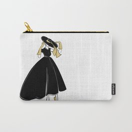 1950's Inspired Fashion Illustration Black & White with Gold Carry-All Pouch