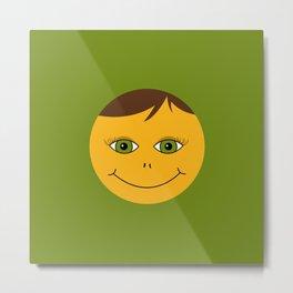 Kind smile. Green Metal Print