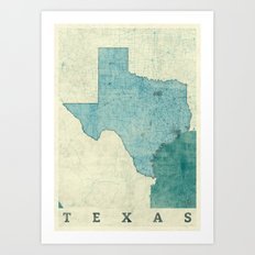 Texas State Map Blue Vintage Art Print