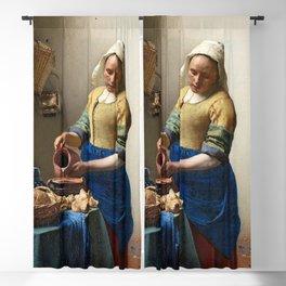 The Milkmaid 1660 by Johannes Vermeer Blackout Curtain