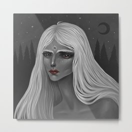 The Moon and Her Metal Print