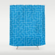 White Tetris Pattern on Blue Shower Curtain