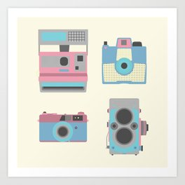 Vintage Cameras Art Print