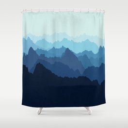 Mountains in Blue Fog Shower Curtain