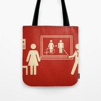 sex and the city Tote Bags featuring Sex change by Rodrigo Ferreira