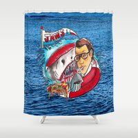 jaws Shower Curtains featuring Jaws  by Christopher Chouinard