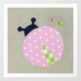 Pink Lady Bug Art Print