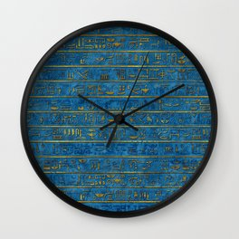 Golden Embossed Egyptian hieroglyphs on blue Wall Clock