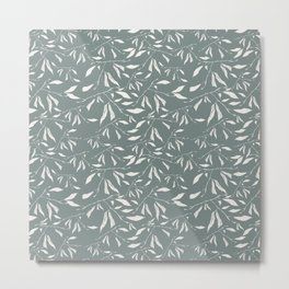 Branches and leaves in sage color Metal Print