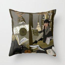 floating books ii Throw Pillow