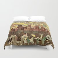 pittsburgh Duvet Covers featuring pittsburgh city skyline by Bekim ART