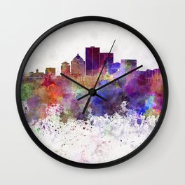 Rochester NY skyline in watercolor background Wall Clock