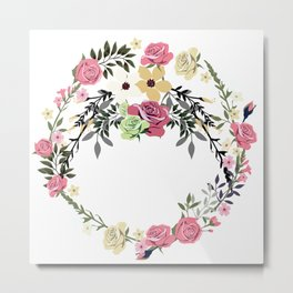 Bouquet of Vintage Rose - wreath Metal Print