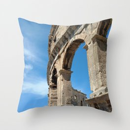 pula croatia ancient arena amphitheatre high Throw Pillow