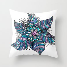 Line Floral Throw Pillow