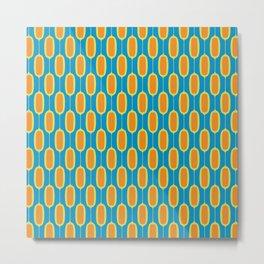 Mod Ovals - Orange & Blue Metal Print