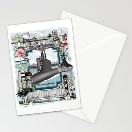 USS Jefferson City - Pearl Harbor Submarine Service (silver dolphins) Stationery Cards