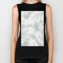 Palm Tree Fronds White on Rainwashed Maui Hawaii Tropical Graphic Design Biker Tank