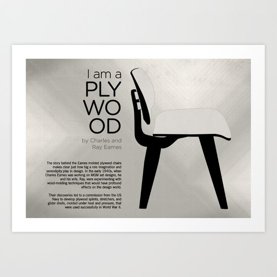 Chairs - A tribute to seats: I'm a Plywood (information) Art Print