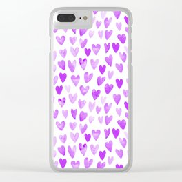 Watercolor Hearts purple pantone love pattern design minimal modern valentines day Clear iPhone Case