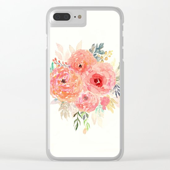 Pink Flower Bouquet Clear iPhone Case