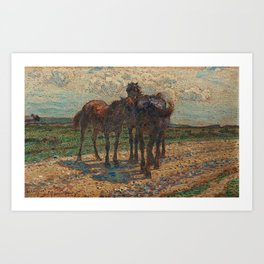 NILS KREUGER,   (HORSES ON THE ROAD). Art Print