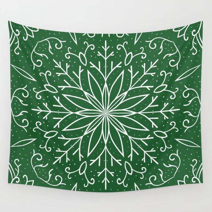 Single Snowflake - green Wall Tapestry