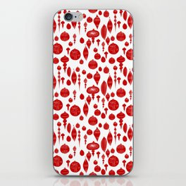 Vintage Christmas Ornaments in Red on White iPhone Skin