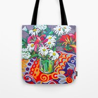 daisies Tote Bags featuring Daisies by marlene holdsworth