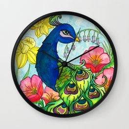 peacock and flowers Wall Clock