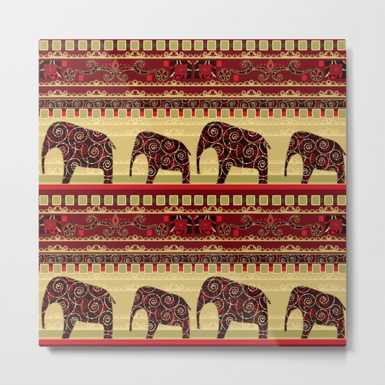 "African ornament . ""Elephants"" . Metal Print"
