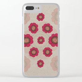 Pata Pattern with Red Flowers on Paper Clear iPhone Case
