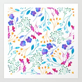 Bold & Colourful Fluro Floral Pattern Art Print