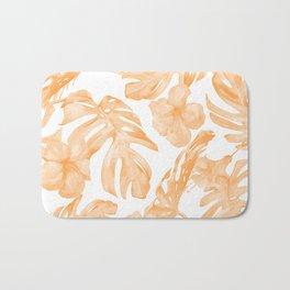 Island Vacation Hibiscus Palm Leaf Coral Orange Bath Mat