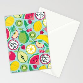 Paper cut geo fruits // aqua background multicoloured geometric fruits Stationery Cards