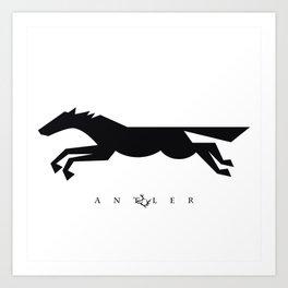Graphic Horse Black on White Art Print