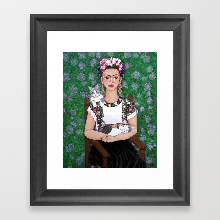Frida cat lover Framed Art Print
