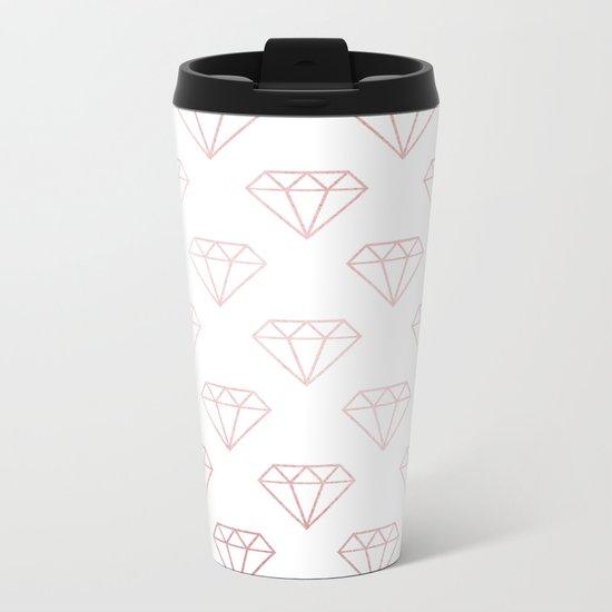 Simply Shimmer Diamonds in Rose Gold Sunset Metal Travel Mug