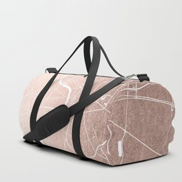 Bangkok Thailand Minimal Street Map - Rose Gold Pink and White II Duffle Bag