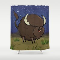 bison Shower Curtains featuring Bison by Solano